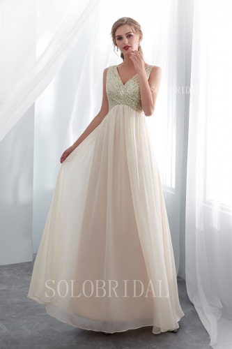 champagne sequin and chiffon bridesmaid dress I156671