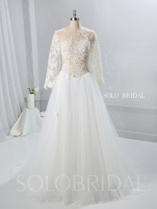 Skin Color Lace Tulle Bodice Tulle Skirt Wedding Dress 724A9528a