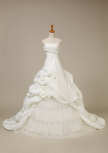 Ivory Taffeta Ruffle Flower Wedding Dress Custom Bridal Gown Free Shipping