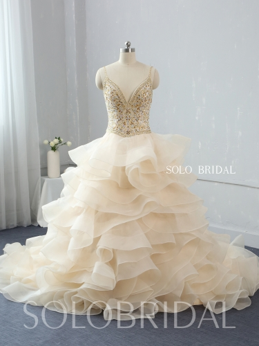 light champagne ruffle ball gown sweep train gold diamond bodice 724A3496