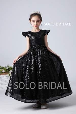 black sequin flower girl dress slt005