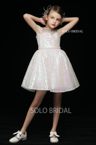 pink shiny flower girl dress 5D7A3868