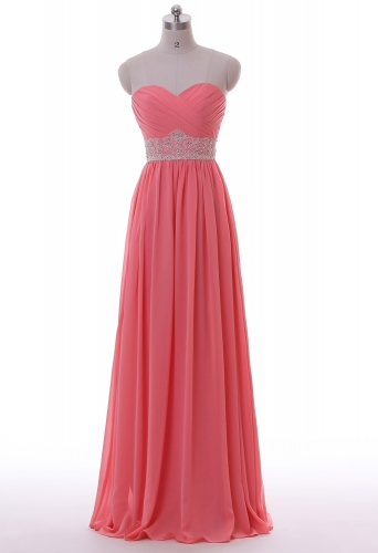 Wholesale chiffon simple pleated beaded belt bridemaid dress