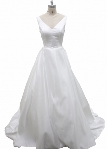 Plain Satin A Line Wedding Dress