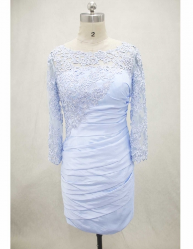 Sky Blue Knee Length Mother of Bride Dress