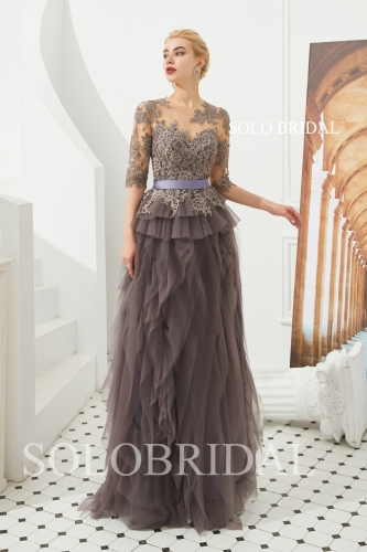 Brown ruffle tulle proom dress M403421