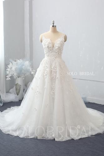 Ivory A line V neck side zipper chapel train 3D flowers wedding dress 724A8805