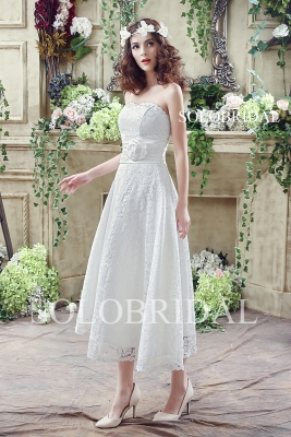 Ivory small A line cotton lace tea length lace up wedding gown C28268