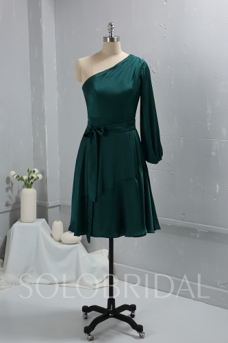 Green Silk like Chiffon One Shoulder Knee Length Dress 724A4812a