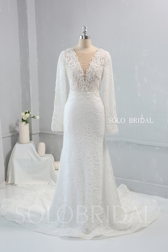 V neck Long Slvees Cathedral Train Lace Wedding Dress Heavy Pearls Beaded 724A2795