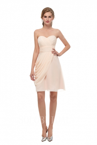 champagne chiffon short bridesmaid dress I136691
