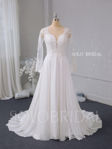 Ivory a line chiffon wedding dress 724A2812