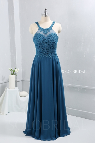 Teal blue chiffon floor length halter neck bridemaid dress party dress proom dress DPP_2606
