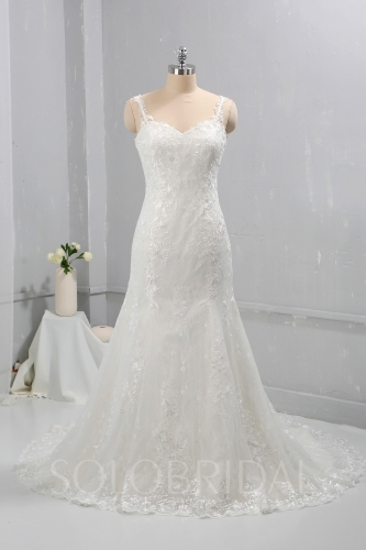 Ivory Fitted Mermaid Wedding Dress thin Lace straps 724A8546