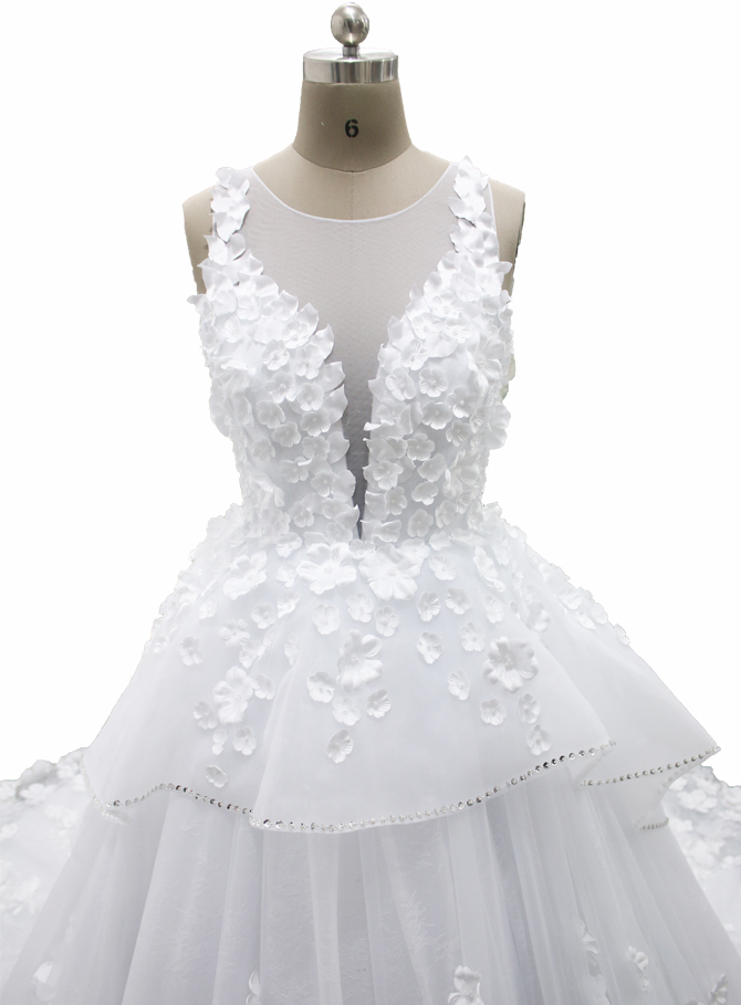 White Ball Gown Flower Wedding Dress|FB-075|Hot Sale Wedding Dresses